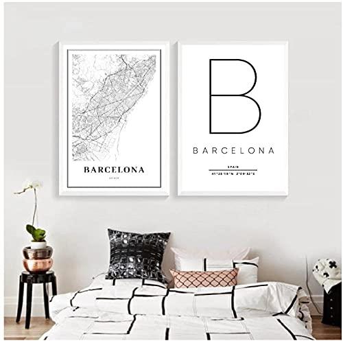 BINGJIACAI Impresión de mapa de Barcelona, cartel de mapa de calle de la ciudad de España, pintura en lienzo, imagen en blanco y negro, decoración del hogar de oficina, 40x50cmx2 sin marco