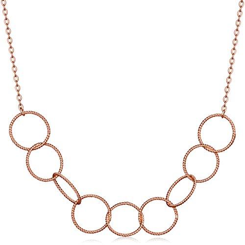 Unendlich U Fashion Ineinander Verschlungene Rings Kreise Damen Halskette 925 Sterling Silber Anhänger Verstellbare Kette, Rosegold