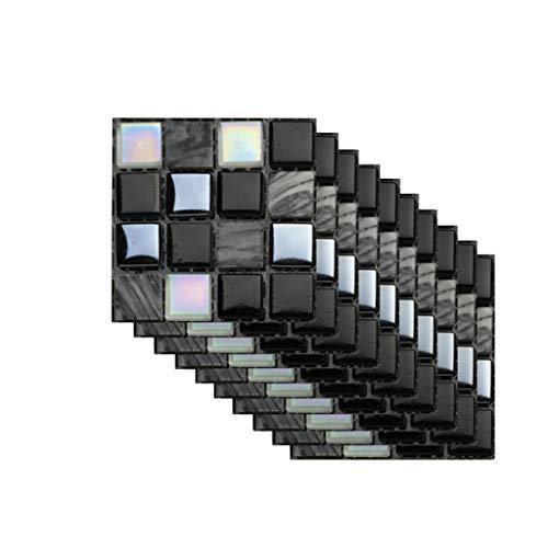 WoWer Dekorfolie 10PCS 3D Selbstklebende Wandaufkleber Simulation Geometrische Fliesenaufkleber Wasserdicht Badezimmer Fliesen Aufkleber Boden Küche und Bad Fliesenfolie Fliesen