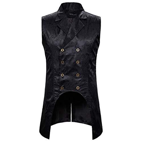 PPangUDing Steampunk Waistcoat Herren Vintage Revers Gothic Viktorianischen Mittelalter Ärmellos Gedruckt Zweireiher Unregelmäßige Cosplay Kleidung Outwear Elegant Gentleman Geschäfts Casual Tops