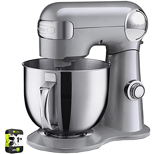 Cuisinart SM-50BC 5.5-Quart Stand Mixer Brushed Chrome Silver Lining Bundle with 1 Year Extended Protection Plan