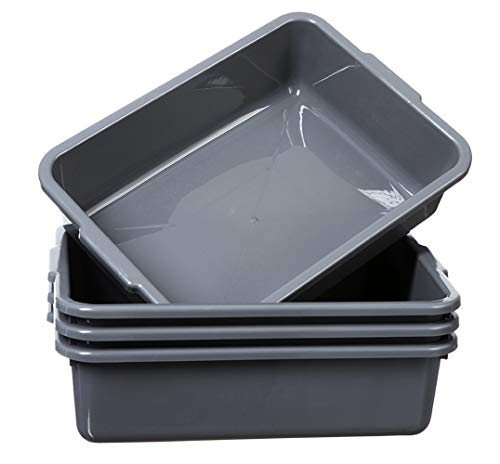 Grey 4-Pack Commercial Bus Tubs Box/Tote Box, Stackable Plastic Utility 13 Liter Storage Bin with Handles, Dish Wash Basin Tub Pans