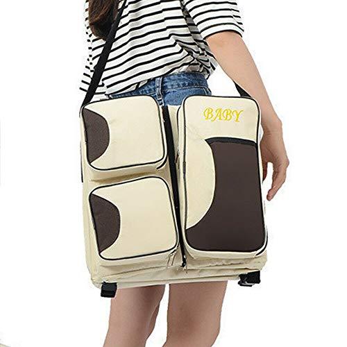 Fetcoi Wickeltasche Multifunktions Tragbare Diaper Bag Beige aus Nylon Reisebett Wickelunterlage für 0-12 Monate baby