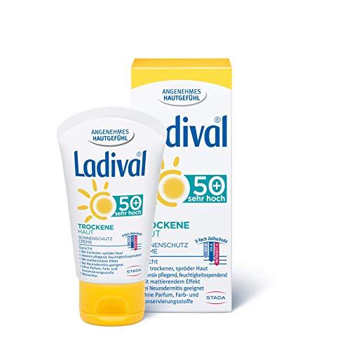 Ladival Trockene Haut Sonnenschutz Creme für das Gesicht LSF 50+ – Parfümfreie Sonnencreme ohne Farb- und Konservierungsstoffe – mattierend und wasserfest – 1 x 50 ml