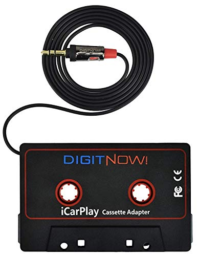 DIGITNOW 3.5mm Car Audio Cassette Adapter for Smartphone/MP3 Player/CD Player/Mini Disk Player iPhone/iPod, 4.6 Inch Cable(Black)