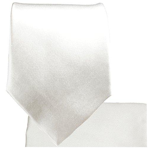 Cravate homme blanc uni ensemble de cravate 3 Pièces (longueur 165cm)