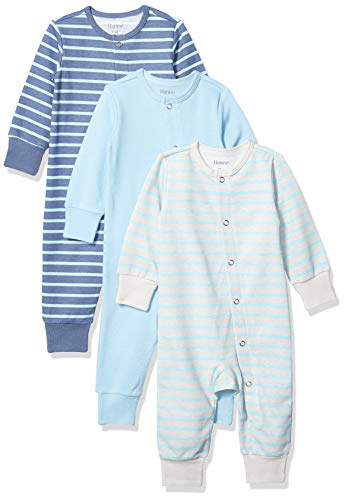 Hanes unisex baby Ultimate Flexy 3 Pack Sleep and Play Suits Layette Set, Grey/Blue Stripe, 12-18 Months US
