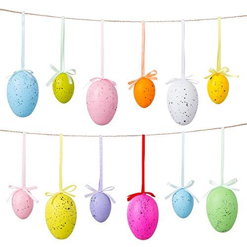 Naler Set di 24 Uova Pasquali Colorate Finte Uova con Macchie da Appendere Uova Decorativa di Festa Pasqua, 12 Grandi + 12 Piccoli