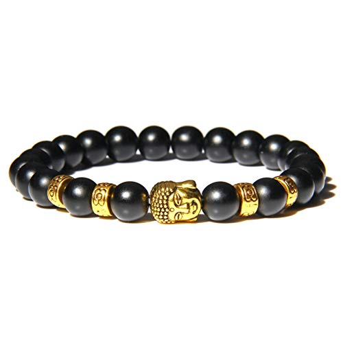 Buddha Head Bracelets Men Vintage Elastic Prayer Jewelry Natural Chakra Tiger Eye Stone Beads Bangle Gold Charm (Length : 19cm, Metal Color : Gold charm)