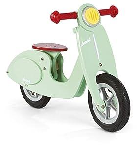 Janod - Motocicleta sin pedales de madera Mint- Vintage con aspecto retro - Aprendiendo Balance y Autonomía - Sillín ajustable, Neumáticos inflables - Color verde menta - Desde 3 años, J03243