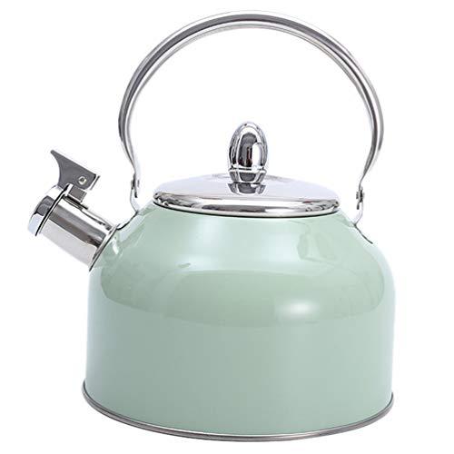 BESTonZON Bollitore da tè con fischio in acciaio inox, manico anti-calore, forte e antiossidante, per stufa a induzione superiore calore di ebullizione rapida acqua teiera