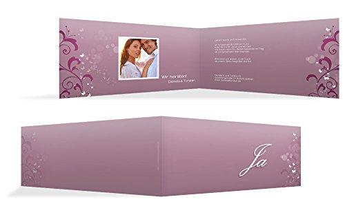 Hochzeitskarten: Hochzeitseinladungskarte 3 Glücksgriff, hochwertige Einladung zur Heirat inklusive Umschläge | 15 Karten (format: 215.00x105.00mm) color: Lila