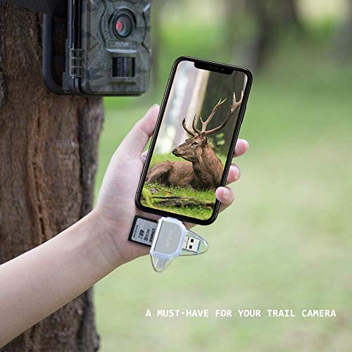 Victure Trail Game Camera Viewer for iPhone iPad Mac Android, Micro SD and SD Memory Card Reader to View Wildlife Surveillance Photos and Videos on Smartphone