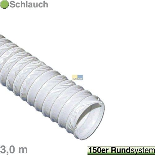Europart 771904 Qualität Abluftschlauch 3 m Ø 150 mm Abluft Schlauch PVC-Schlauch Drahtspirale PVC weiß -30°C bis +70°C für Trockner Dunstabzugshaube Klimaanlage