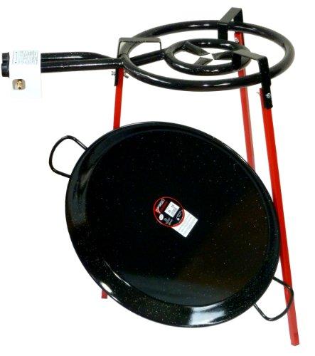 Paella–Conjunto de Utensilios de Cocina 400mm Doble Quemador con 50cm esmaltados paellera