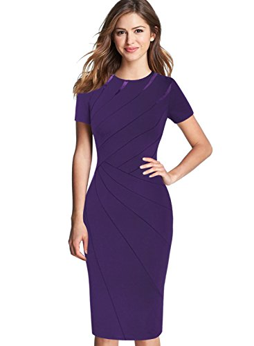 VFSHOW Womens Purple Elegant Crew Neck Patchwork Work Business Office Sheath Bodycon Pencil Dress 2285 PUP XS