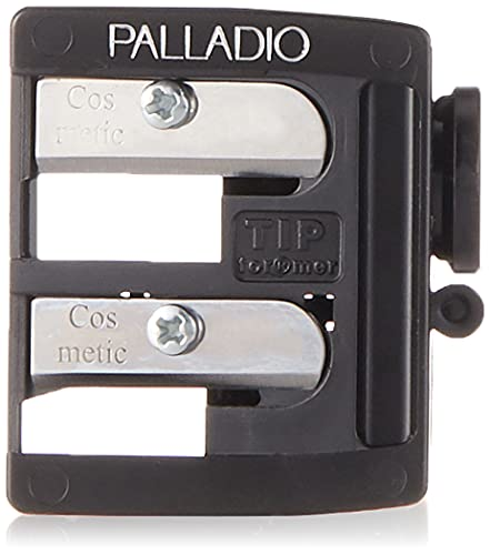 Palladio Double Barrel 3 in 1 Cosmetic Pencil Sharpener with Cover, Stainless Steel Blade, Size Adjuster, Essential for Small and Extra Large Lip Liner, Eyeliner, Brow Pencils