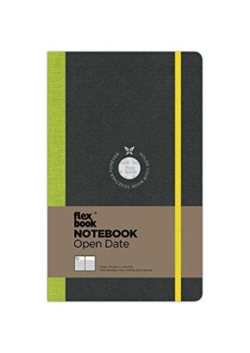 Flexbook Notizbuch patentierte flexible Bindung, offenes Datum, schwarz, hellgrüner Rücken, mit gelbem Gummizug 13x21cm