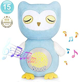 BEREST A11 Baby Soother Owl Plush Infant Toy with 15 Soothing Sounds, Auto Off Timer, Moon Starry Night Light Projector Sound Machine, Portable & Washable White Noise Machine for Crib, Travel & Home