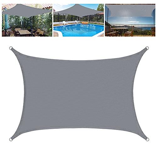 HUTHIM Sonnensegel Rechteckig 2x3m, Sonnensegel Wasserdicht Sonnenschutz Balkon Terrasse, Segeltuch Pergola Wasserdicht, 95% UV-Block, Grau