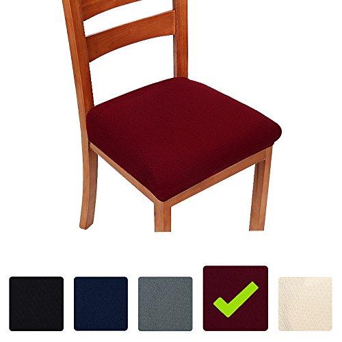 smiry Stretch-Sitzbezüge für Esszimmer & Büro, Jacquard, Esszimmerstuhl, Sitzkissen, Stuhlhussen, burgunderfarben, Dining*4