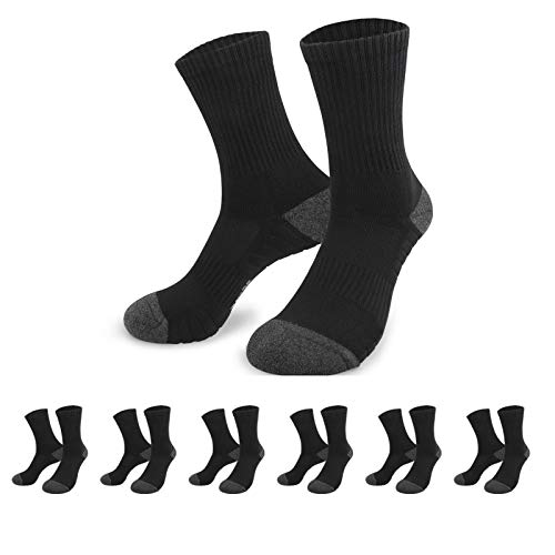 YouShow Trainer Socks Cushioned 6 Pairs Mens Womens Athletic Breathable Cushion Casual Performance Socks(Black,UK 12-15)