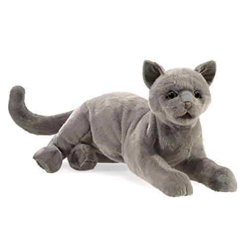 Folkmanis Purring Cat Hand Puppet, Gray, 8'
