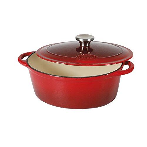 Sitram 710839 Cocotte 4 L Fonte d'acier émaillée Forme ovale,Rouge/Crème,27 x 21 x 11.5 cm