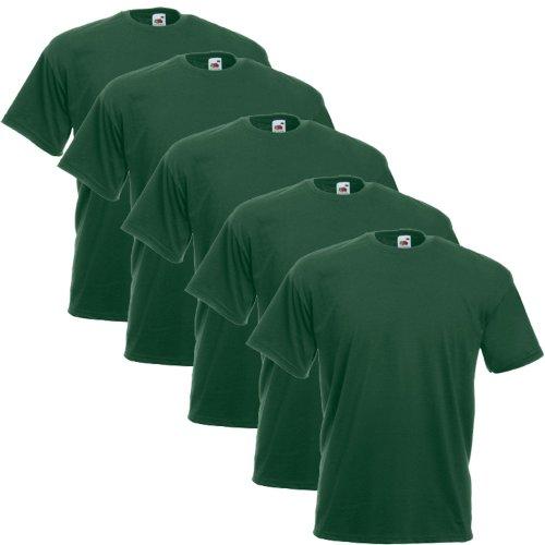 5 Fruit of the loom T-Shirts Valueweight S M L XL XXL XXXL 3XL Diverse Farbsets auswählbar 100{9a0a734c90bb7ca67c1536af07b0f537c789d4faa294706897f1950a68390e65} Baumwolle (XL, Flaschengrün)