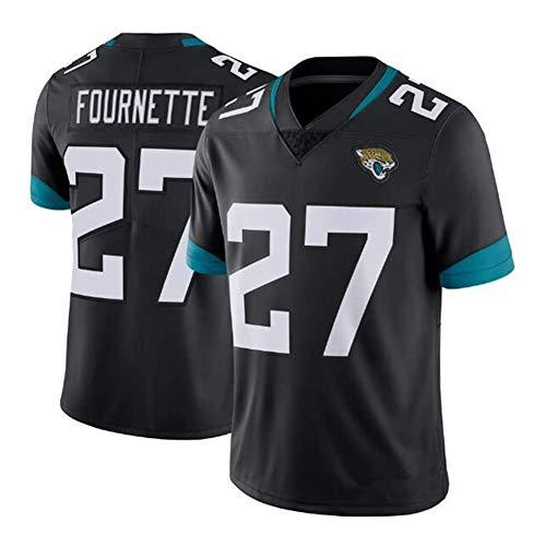 POAE Rugby-Trikot T-Shirt Jaguares Chiapas 27# Fournette Kurzarm Fußballtrikot, Herren Fans Lose T-Shirt für Sport und Freizeit Gr. XL, Schwarz