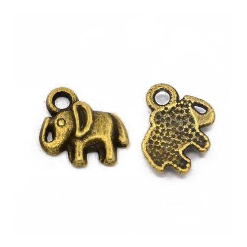 Tibetan Elephant Charm Pendants Steampunk Antique Bronze 11mm 10 Packs of 30