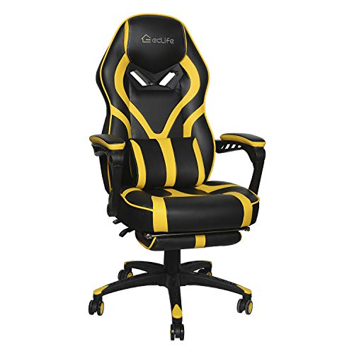 eclife Gaming Chair Office Computer Chair Game Video Chair High Back Ergonomic Backrest Seat Adjustable Swivel Task Chair E-Sports Chair with Lumbar Support and Footrest (OF-D02, Yellow) chair footrest gaming