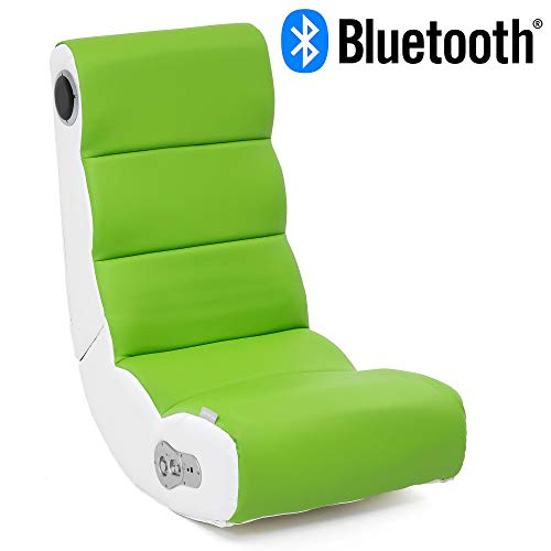 Wohnling® Soundchair Wobble in Weiß Lime mit Bluetooth | Musiksessel mit eingebauten Lautsprechern | Multimediasessel für Gamer | 2.1 Soundsystem - Subwoofer | Music Gaming Sessel Rocker Chair