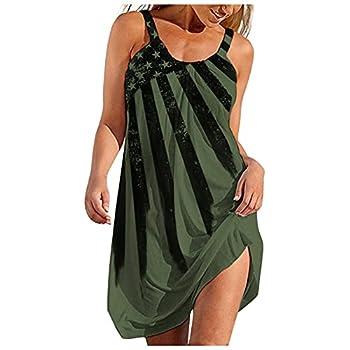 OutTop Summer Dresses for Women Casual Beach Sundress Sleeveless Plus Size Bohemian American Flag Dress  Green XL