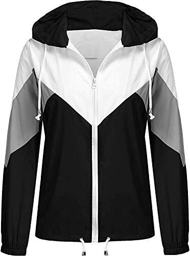 SoTeer Women's Lightweight Hooded Waterproof Rain Jacket Windbreaker Packable Active Outdoor Raincoat (Black, M)