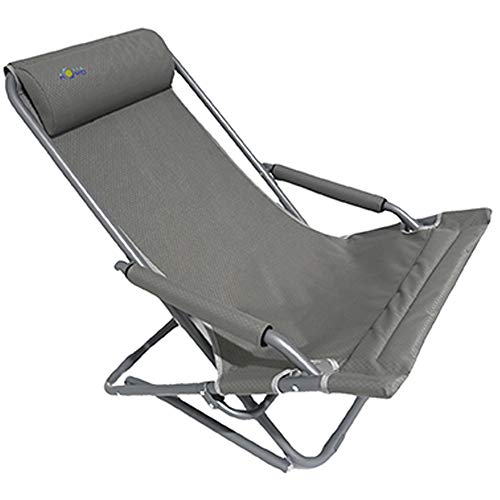 Spiaggina portatile pieghevole in alluminio diam. 25mm, sdraio da spiaggia richiudibile in tessuto poliestere anti strappo, sedia a sdraio per spiaggia, mare, campeggio, giardino 70x64cm col. grigio