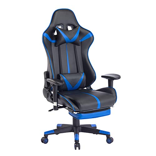 Blue Whale Massage Gaming Chair - High Back Racing PC Computer Desk Office Chair Swivel Ergonomic...