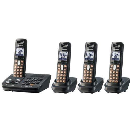 Panasonic KX TG6444PK - Cordless phone w/ call waiting caller ID & answering system - DECT 6.0 - black metallic + 3 additional handset(s)
