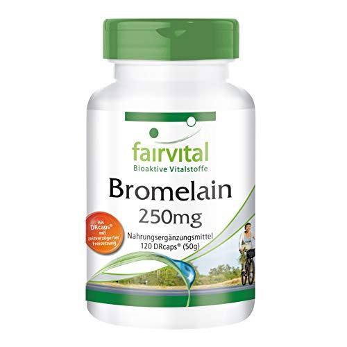 Bromelain Kapseln 250mg - HOCHDOSIERT - VEGAN - 120 DRCaps™ - 600 F.I.P. - Ananasenzym