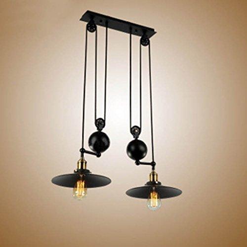 Pendant lights Retro Adjustable Height Pulldown Island Ceiling Lamp Retro Industrial 1 Light/2 Lights/3 Lights (Color : 2)