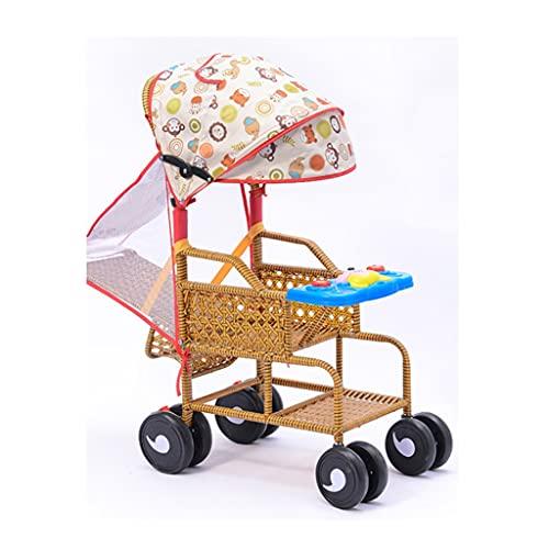 Yyqx Cochecito de bebé de bambú y ratán de verano que puede sentarse cochecitos reclinables luz de dos vías silla de ratán cochecito de bebé cochecito de bebé (color: A, tamaño: sin cojines)