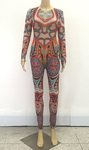 Women Sexy Bandage Bodycon Jumpsuit Tattoo Print Bodysuit, Medium