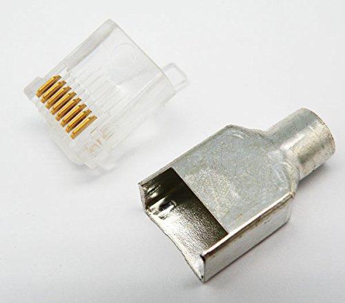 Euroconnex - Conector para cable de red Ethernet RJ-45 8 hilos P8, SHORT SHIELDED 50U'', TIPO MOLEX, bolsa de 10 unidades