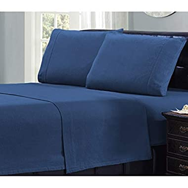 Mellanni 100% Cotton 4 Piece Flannel Sheets Set - Deep Pocket - Warm - Super Soft - Breathable Bedding (King, Blue)