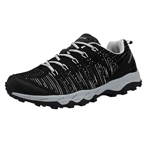 HDUFGJ Herren Trekking-& Wanderhalbschuhe Anti-Rutsch Leichtgewicht Turnschuhe Wandern Trekking Schuhe Wassersportschuhe Laufschuhe Fitnessschuhe Leichtgewicht Laufschuhe Bequem39.5 EU(Schwarz)