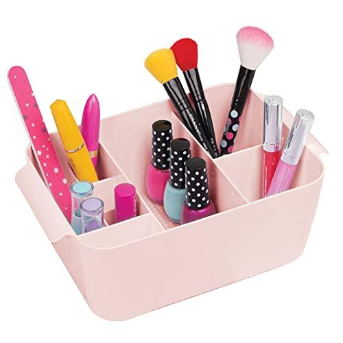 mDesign Organizador de maquillaje para lavabo o tocador – Pequeña caja con compartimentos para guardar cosméticos en plástico sin BPA – Modernos contenedores plásticos con 8 divisiones – rosa