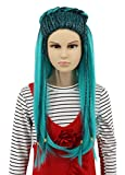 Karlery Kids Child Long Braid Straight Green and Black Mixed Wig Halloween Cosplay Anime Costume Party Wig