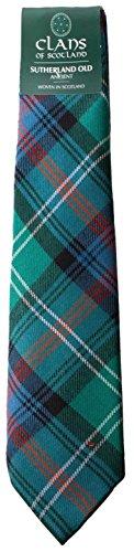 I Luv Ltd Sutherland Old Ancient Clan 100% Wool Scottish Tartan Tie