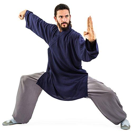 wu designs Baumwolle (Leicht) Kung Fu & Tai Chi Shirt Diagonaler Kragen Langarm - Taiji Anzug Dunkelblau 190