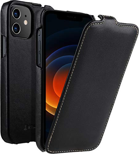 "StilGut UltraSlim kompatibel mit iPhone 12 Mini (5.4"") Hülle - iPhone 12 Mini Flip Hülle aus Leder, Klapphülle, Handyhülle, Lederhülle - Schwarz Nappa"
